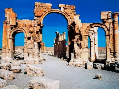 Triumphal arch of Septimius Severus, Palmyra (UNESCO World Heritage Site, 1980), Syria, Roman civilization, 1st-2nd century